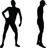 Surfer die manequinn in silhouet stellen Royalty-vrije Stock Afbeeldingen