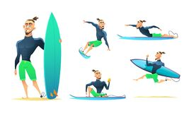 Surfer in different dynamic poses, standing, running, floating, surfing. Cartoon character design, vector illustration. Surfer in different dynamic poses Royalty Free Stock Photos