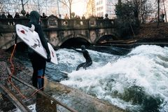 Surfing in winter in Munich city, Germany Stock Photos