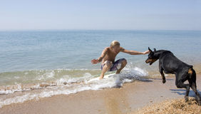 Surfer and a dog Stock Photo