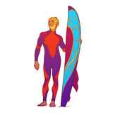 Surfer in drusuit. Front view.  on white. Summer water sport activities. Athletic shaped surfer wearing fullbody drysuit with decorated surfboard. Front view Stock Photo