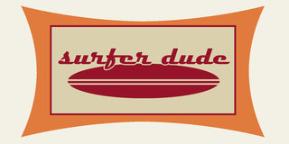 Surfer dude. Vintage style surf logo in red and orange Royalty Free Stock Photo