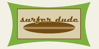 Surfer dude. Vintage style surf logo in green and brown Stock Image
