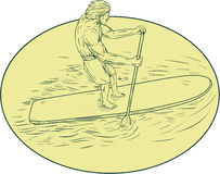 Surfer Dude Stand Up Paddle Oval Drawing Stock Photos