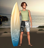 Surfer dude at sunset. 3d render of a young, happy surfer at sunset. Beside his surfboard on the beach Stock Image