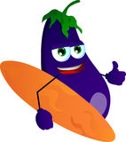 Surfer eggplant with thumb up Stock Image