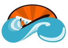 Surfer en golven Stock Illustratie