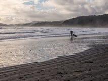 Surfer en hiver photographie stock libre de droits