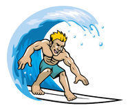 Surfer enjoying the wave. Vector of surfer enjoying the wave Royalty Free Stock Photography