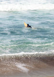 Surfer enjoys the waves of the ocean. In Southern California in summer Stock Photo