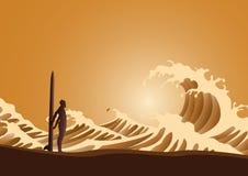 Surfer et ondes Photos stock