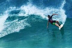Surfer Evan Valiere Surfing Pipeline in Hawaii royalty free stock photos