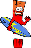 Surfer exclamation mark Royalty Free Stock Photography