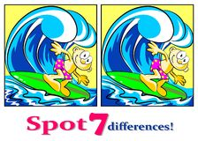 The surfer - Find the seven differences Royalty Free Stock Photo