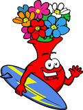 Surfer flower vase Royalty Free Stock Image