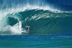 Surfer Gabriel Medina Surfing Pipeline in Hawaii royalty free stock photo
