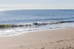 Surfer getting ready to ride the waves at Santa Cruz Beach. Taken of a surfer getting ready to ride the waves in Santa Cruz, California Royalty Free Stock Image