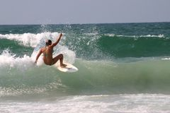 Surfer girl. Bikini girl surfing the wave royalty free stock images