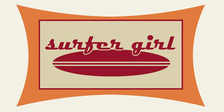Surfer girl. Vintage style surf logo in red and orange Royalty Free Stock Photography