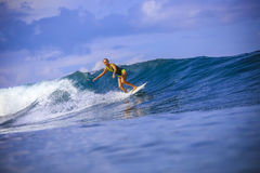 Surfer girl on Amazing Blue Wave Royalty Free Stock Photos