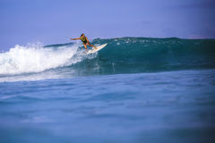 Surfer girl on Amazing Blue Wave Royalty Free Stock Images