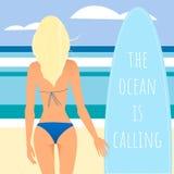 Surfer girl back. Blonde hair, tanned body, blue bikini. The beach in geometric style Stock Image