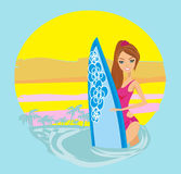 Surfer girl on a beach icon. Vector Illustration Stock Photo