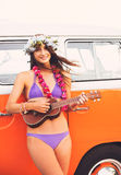 Surfer Girl Beach Lifestyle Stock Image