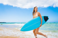 Surfer Girl in Bikini with Surfboard Royalty Free Stock Photo