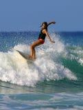 Surfer Girl Brooke Rudow Surfing in Waikiki Beach. Pro Surfer Girl, Brooke Rudow, surfing on a longboard in Waikiki on the island of Oahu, Hawaii Stock Photos