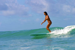 Surfer Girl Grace Lo at Queens Beach in Hawaii. Photo of surfer, Grace Lo, riding some practice waves before her heat in the Wahine Classic womens surf contest Royalty Free Stock Photo