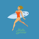Surfer girl hello summer Royalty Free Stock Photography