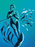 Surfer Girl. Illustrated surfer girl abstract image with blue background royalty free illustration