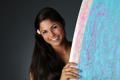 Surfer Girl Portrait with Board Stock Photos