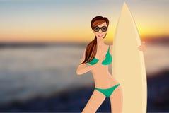 Surfer girl portrait stock illustration