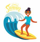 Surfer girl rides the waves. Vector flat Stock Images