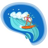 Surfer girl riding the sea waves vector image vector illustration