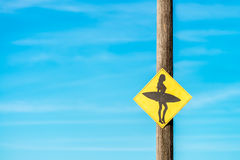 Surfer girl sign Royalty Free Stock Photos