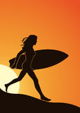 Surfer girl. Silhouette of a girl with a surfboard on the beach in a vector format Royalty Free Stock Photos