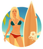 Surfer girl with simple seaside background Royalty Free Stock Photography