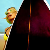 Surfer Girl with stylish surf board on the beach. Surfing Time.  Stock Images