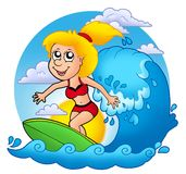 Surfer girl with Sun Royalty Free Stock Photo