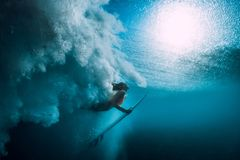 Surfer girl with surfboard dive underwater with under big ocean wave. Surfer girl with surfboard dive underwater with under big wave stock images