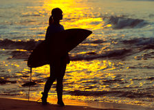 Surfer girl surfing looking at ocean beach sunset. Silhouette  w Royalty Free Stock Photography