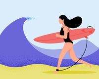Surfer girl on wave in flat style. Cartoon character vector illustration. Stock Images