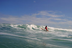 Surfer Girl in the Waves Stock Photo