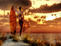 Surfer Girl royalty free illustration