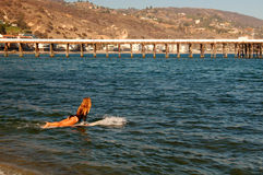 Surfer Girl. A young female surfer heads to the waves in Malibu, California Stock Photos