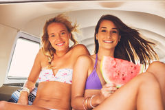 Surfer Girls Beach Lifestyle Stock Images