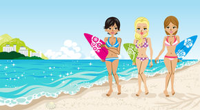 Surfer girls in the Beach Royalty Free Stock Photo